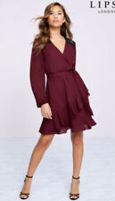 New Lipsy @ Next Size 14 Berry Black Lace Inserted Shirred Tie Belt Ruffle Dress