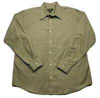 Eddie Bauer Olive Green Plaid LS Wrinkle & Stain Resistant Shirt Men's L Button
