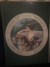 Vtg  00004000 Savannah Brewing Co Art Deco Lady & Tiger Beer Advertising Poster Georgia