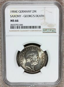 1904-E Germany Saxony Georg's Death 2 Mark Silver Coin - NGC MS 66 - KM# 1261