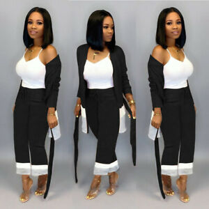 Fall&Winter Women's Long Sleeves Color Block Belted Casual Cardigan Suit 2pcs