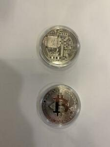 New Bitcoin Physical Coin Crypto Currency Silver Plastic Holder Coins Individual