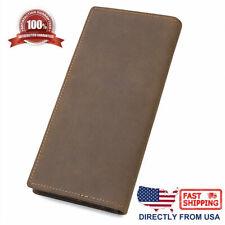 New Men Genuine Leather RFID Blocking Bifold Long Wallet Holder chocolate&brown