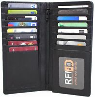 RFID Security Lined Leather Wallet Quality Full Grain Cow Hide Leather.BLK 11027