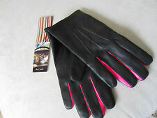 New Paul Smith Neon Pink Insert Leather Gloves BNWT 9.5