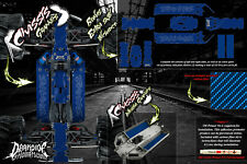 TRAXXAS E-MAXX CHASSIS CARBON FIBER HOP UP GRAPHICS DECALS WRAP KIT FOR 3922A BL