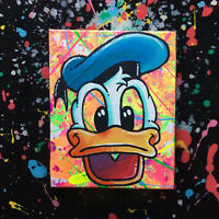 Disney Donald duck pop art acrylic painting on canvas black light fun art