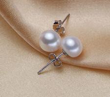 7-8mm 925 Sterling Silver Genuine Cultured Freshwater Pearl Stud Earrings Gift