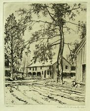 Vtg. Original 1st Trial Etching by Robert H. Nisbet -- A Rural Town with Trees