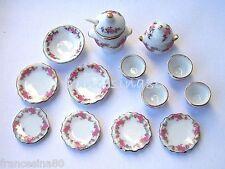 Dolls House Servizio tavola piatti porcellana fiori rosa scala 1:12 casa bambole