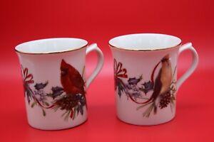 Lenox Winter Greetings Coffee Cup Cardinal Cedar Waxwing Dark-eyed Junco MINT