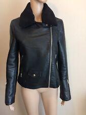 Topshop Black Faux Leather Biker Jacket Size 10