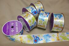 "6 Rolls BABY JUNGLE ANIMALS SINGLE FACE SATIN RIBBON  1 1/2"" W  4 yds. P/R"