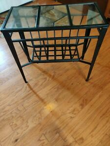 Ashley Furniture Calder Chairside End Table Glass/Metal/Slate