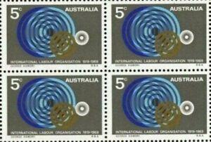 Australia 1969 MUH Block 4x5c International Labour 50th Anniversary Stamps Issue