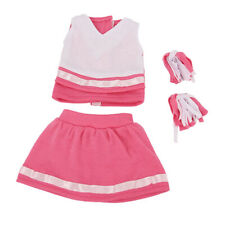 18'' Pink Cheerleader Uniform Outfit with Pompoms American Dolls Clothes Set