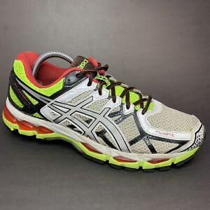 ASICS Gel Kayano 21 Mens Sz 9.5 M White Yellow Red Running Shoes Sneakers T4H2N