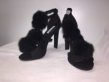 Cape Robbin High Heels Fuzzy Poof Strappy Black Size 8