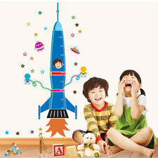 Space Rocket Height Chart Measure Kids Rroom Decals Decor DIY Wall Sticker Mural