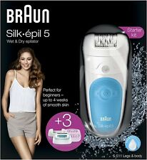 Braun Silk Epil 5-511v Womens Wet & Dry Cordless Epilator Shaver + 3 Accessories