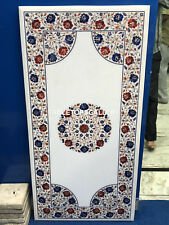 4'x2' Marble Dining Table Top Lapis Carnelian Floral Marquetry Inlay Decors E130