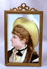 Beautiful Art Nouveau Painting On Porcelain Plaque Actress Mary Anderson 1880's