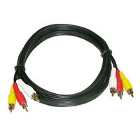 6Ft 2m 3RCA Composite Audio Video A/V Cable for TV DVD VCR