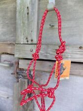 MUSTANG COWBOY  KNOTTED HALTER  MATCHING LEAD HORSE RED/WHITE FLECKS
