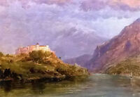 Oil painting frederic edwin church - salzburg castle landscape by river canvas