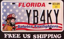 "FREE US SHIP - FLORIDA "" FIREFIGHTER FIRE FIGHTER "" FL Specialty License Plate"