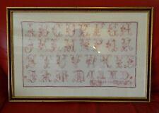 Ancien grand abécédaire daté 1908 brodé aux points de croix 54 cm x 30,5 cm
