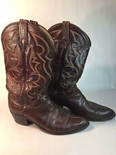 Pair of Vintage Retro Dan Post Western Brown Leather Cowboy Boots Size 10 D