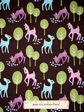Woodland Animal Deer Fawn Tree Brown Fabric Michael Miller Pet Deer Cotton Yard