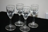 Vntg Etched Liqueur/ Cordial Glasses-Set 4, Stems w/ Leaves Pattern/ Modern Look