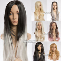 New Womens Synthetic Long Curly Wavy Wig Blonde Golden Gray Black Full Hair Wigs