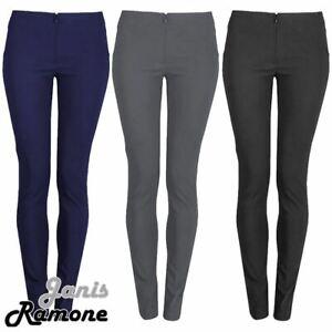 Girls School Trousers Bengaline Plain Slim Fit Uniform Pants Office Trousers