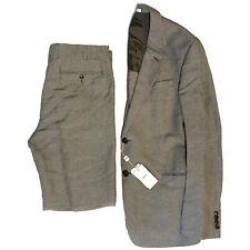 ARMANI COLLEZIONI Mens Linen Plaid Trend Two Button Suit Gray 50R (MSRP $2100)