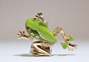 Frog on stalk enamel brooch