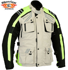 AUstralian Bikersgear Men Motorcycle Motorbike Adventure HiViz Waterproof Jacket