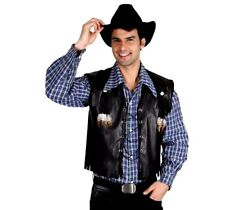 Adult DELUXE COWBOY WAISTCOAT Wild West Fancy Dress Suede Hat Rodeo Costume Men