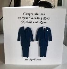 """Conector Macho mismo sexo gay boda chaqueta azul y corbata azul Pantalones 6"""" Tarjeta Señor & señor macho"""