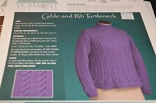 Vermont Fiber Designs Knitting Pattern 119 Cable & Rib Turtleneck sz XS to 5X