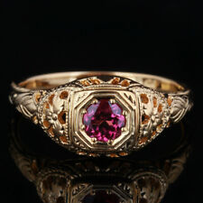 Noble Solid 14K Yellow Gold Pave Setting tourmaline Engagement & Wedding Ring