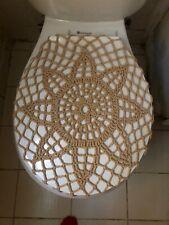 Handmade Crochet Round Toilet Lis/Seat Cover Sand Beige #1