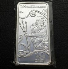 Trident Silver Neptune Greek God Of the Ocean 10 Troy oz .999 Silver Bar W/ Coa