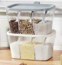 Kitchen Seasoning Box Spice Jars Condiment Sugar Salt Storage Container w/Spoons