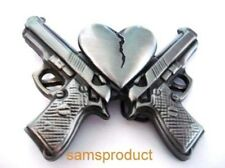 2 Guns & Broken Heart silver color Belt Buckle Famous