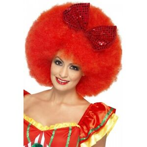 Mega Afro Clown Wig, Red Costume Accessory Adult Halloween