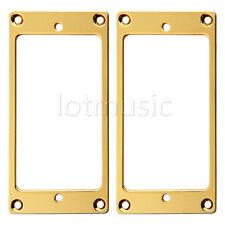 2 Pcs Flat Metal Guitar Humbucker Pickup Mounting Ring Gold