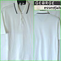 GEORGE SIZE L MEN`S WHITE SHORT SLEEVE COTTON POLO SHIRT #B3320